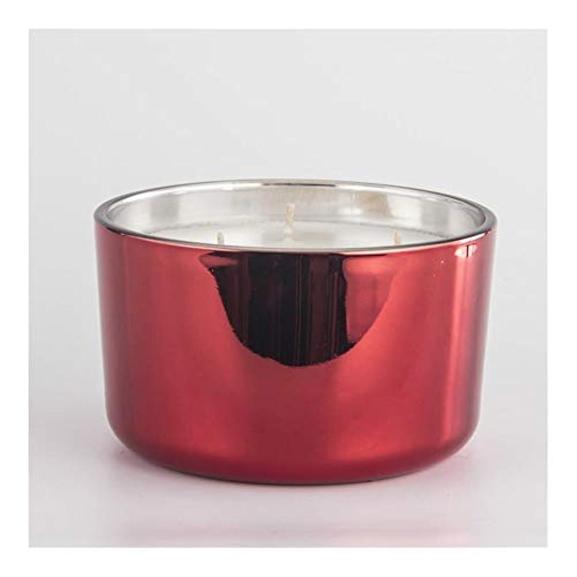 支払うマスクユニークなACAO キャンドルカップ香料入りキャンドル鉢植えワックスカップキャンドルカップ電着赤3芯カップガラスカップワックス