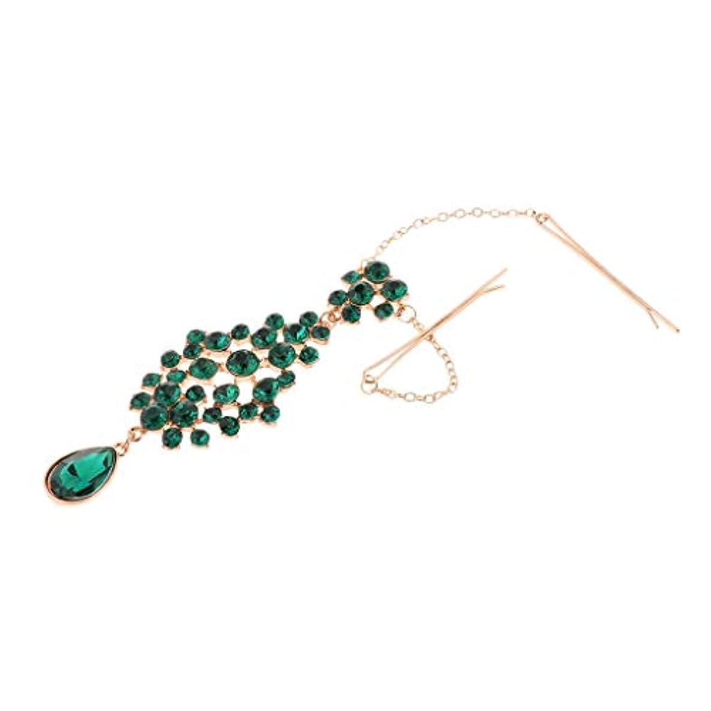 誰でも早熟憤るSharplace ファッション中空緑色の水晶額お眉毛ヘアピンブライダルヘッドドレス