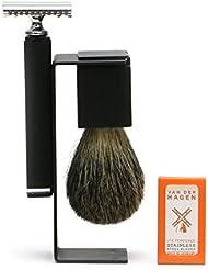 VANDERHAGEN(米) ウェットシェービングセット スリーク 両刃 髭剃り 替刃5枚付