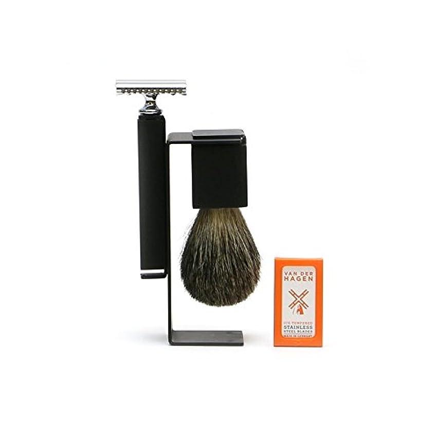 ヤング支店レトルトVANDERHAGEN(米) ウェットシェービングセット スリーク 両刃 髭剃り 替刃5枚付
