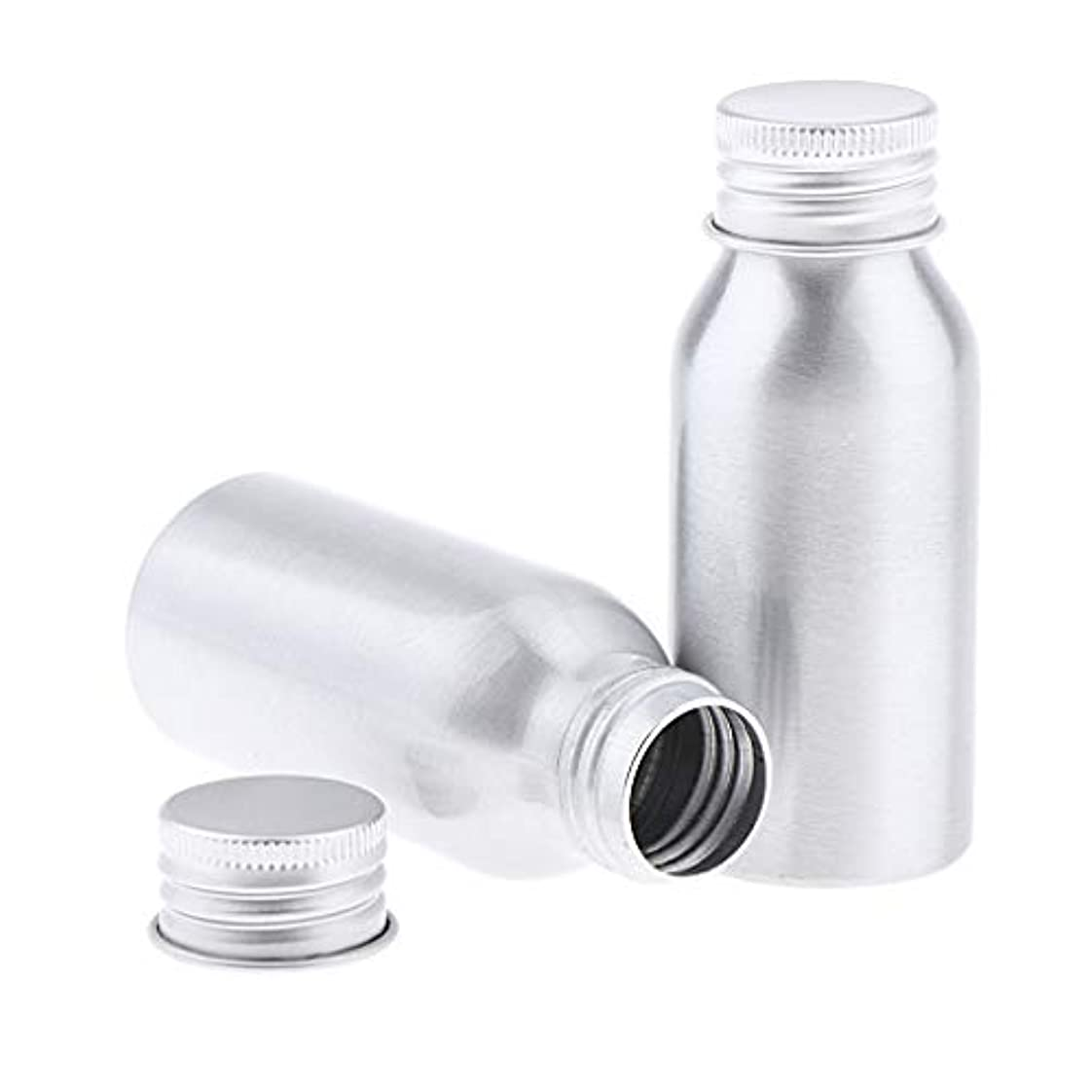 驚いたことに実り多いファブリック2本 アルミボトル シルバー 空ボトル 化粧品収納容器 ディスペンサーボトル 5サイズ選べ - 50ml