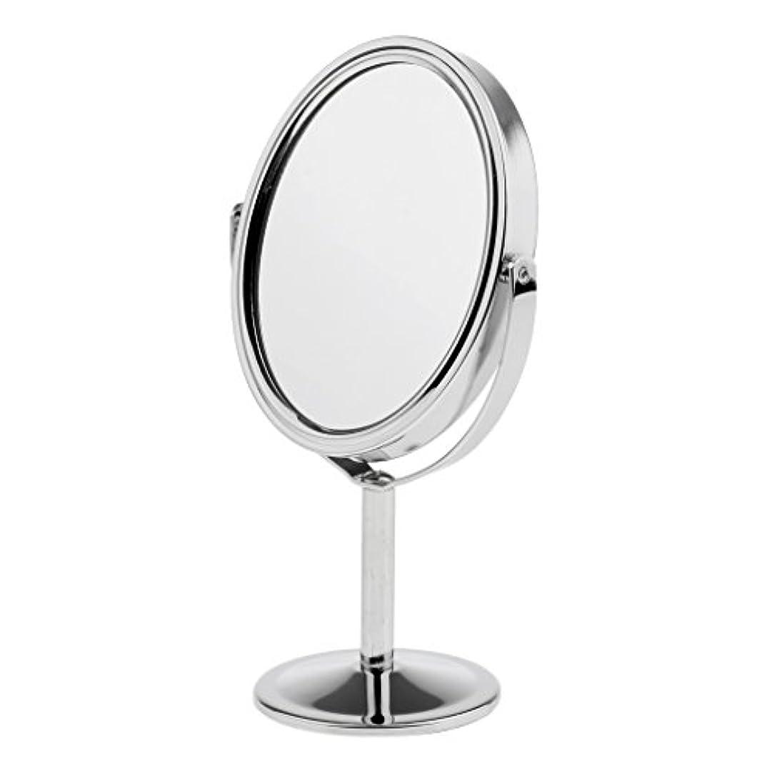 抑止するの量トークDYNWAVE 化粧鏡 メイクミラー 拡大鏡 卓上ミラー スタンド メイク メイクアップ 2色選べる - 銀