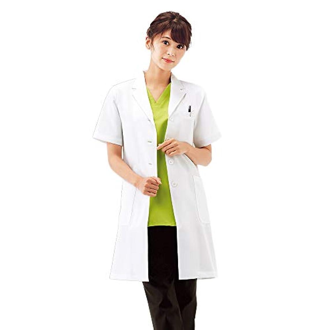 醜い気づかないイサカナースリー デイリー 半袖ドクターコート 白衣 シワになりにくい 女性用 実験 診察衣 両脇ポケット付