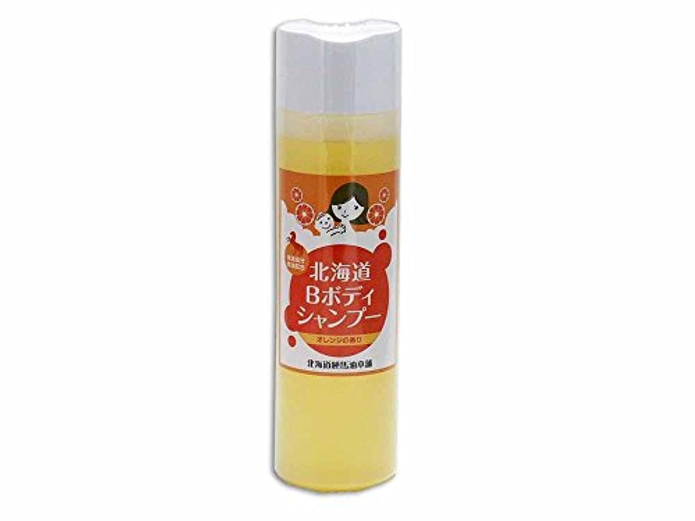 弾性清めるホール北海道 馬油ボディソープ 【保湿成分馬油配合】300ml (オレンジ)