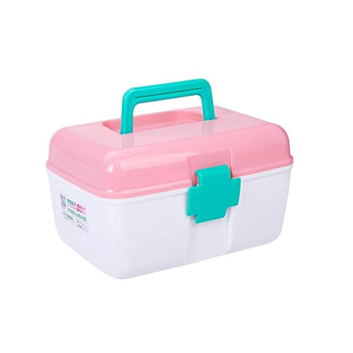テロリスト苦情文句マトンIUYWL プラスチック製の応急処置キット、家庭用薬箱、多層薬保管箱、多機能薬保管箱 (Color : Pink)