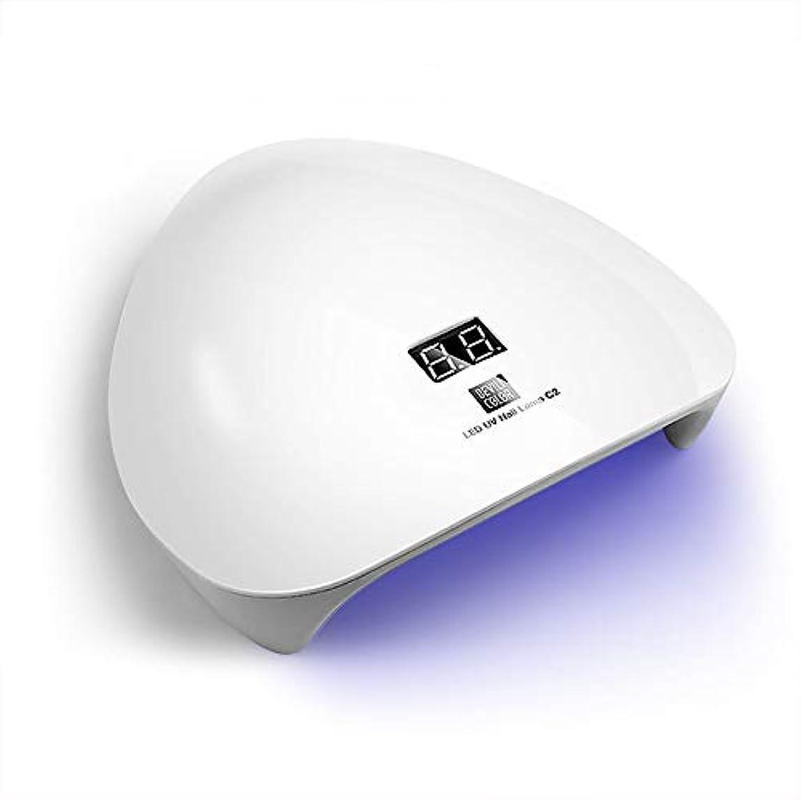 バトル慈悲深い合唱団LEDネイルドライヤー UVライト 45W ハイパワー2019最新版 LED硬化ライト自動センサー 15LED 高速硬化 ジェルネイルライトUVとLEDダブルライト ジェルネイル用 (ホワイト)