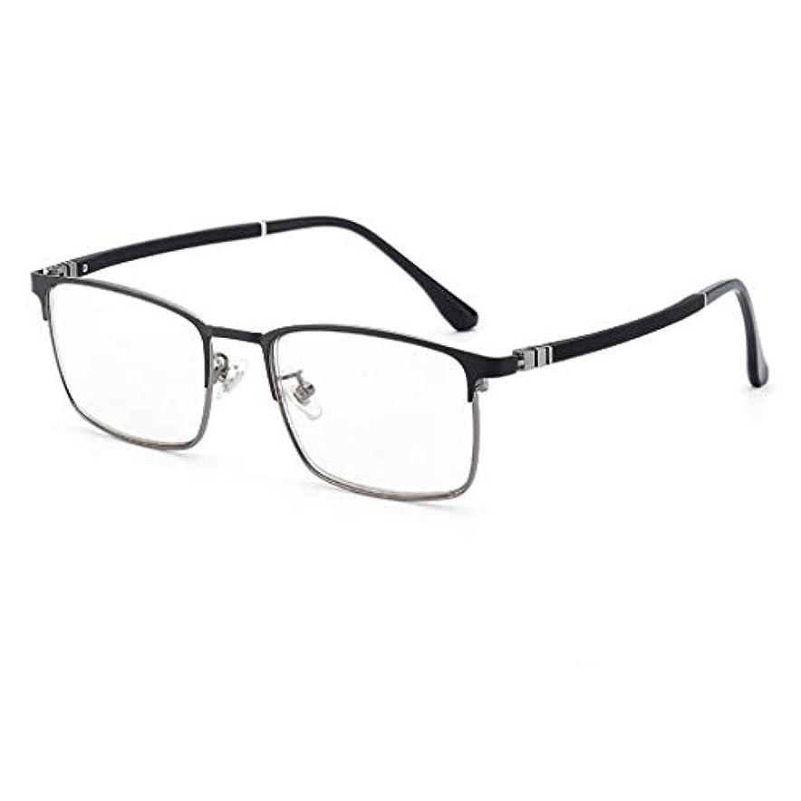 ハイブリッド類人猿背骨男性用ビンテージ老眼鏡(+1.0から+4.0)シンリーダーステンレススチール製メタルフレームブラック仕上げ長方形レンズケース&布製、2色