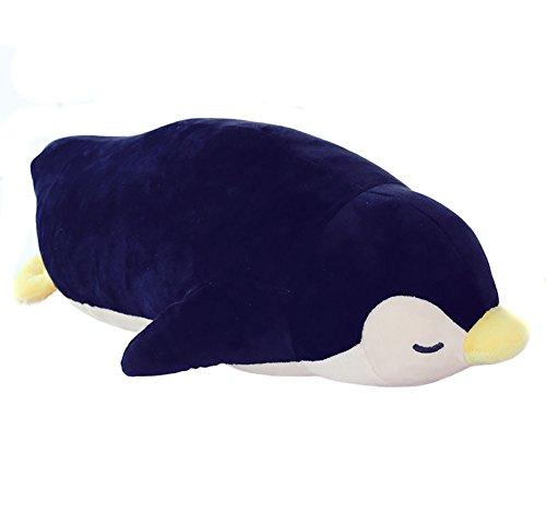 (viviwo)ぬいぐるみ 抱き枕 ペンギン ねむねむ クッション おもちゃ プレゼントに最適 (50cm, ブラック)