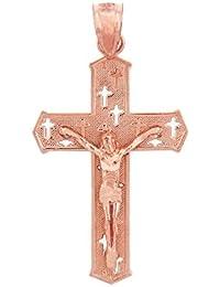 ソリッド14 Kローズゴールドカットアウトクロスチャーム情熱十字架ネックレスペンダント