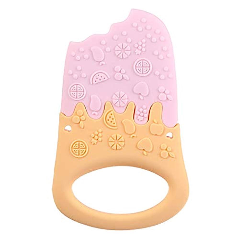 申請者深さ粒Landdumシリコーンティーザーアイスクリームティーザー赤ちゃん看護玩具かむ玩具歯が生えるガラガラおもちゃ - 青