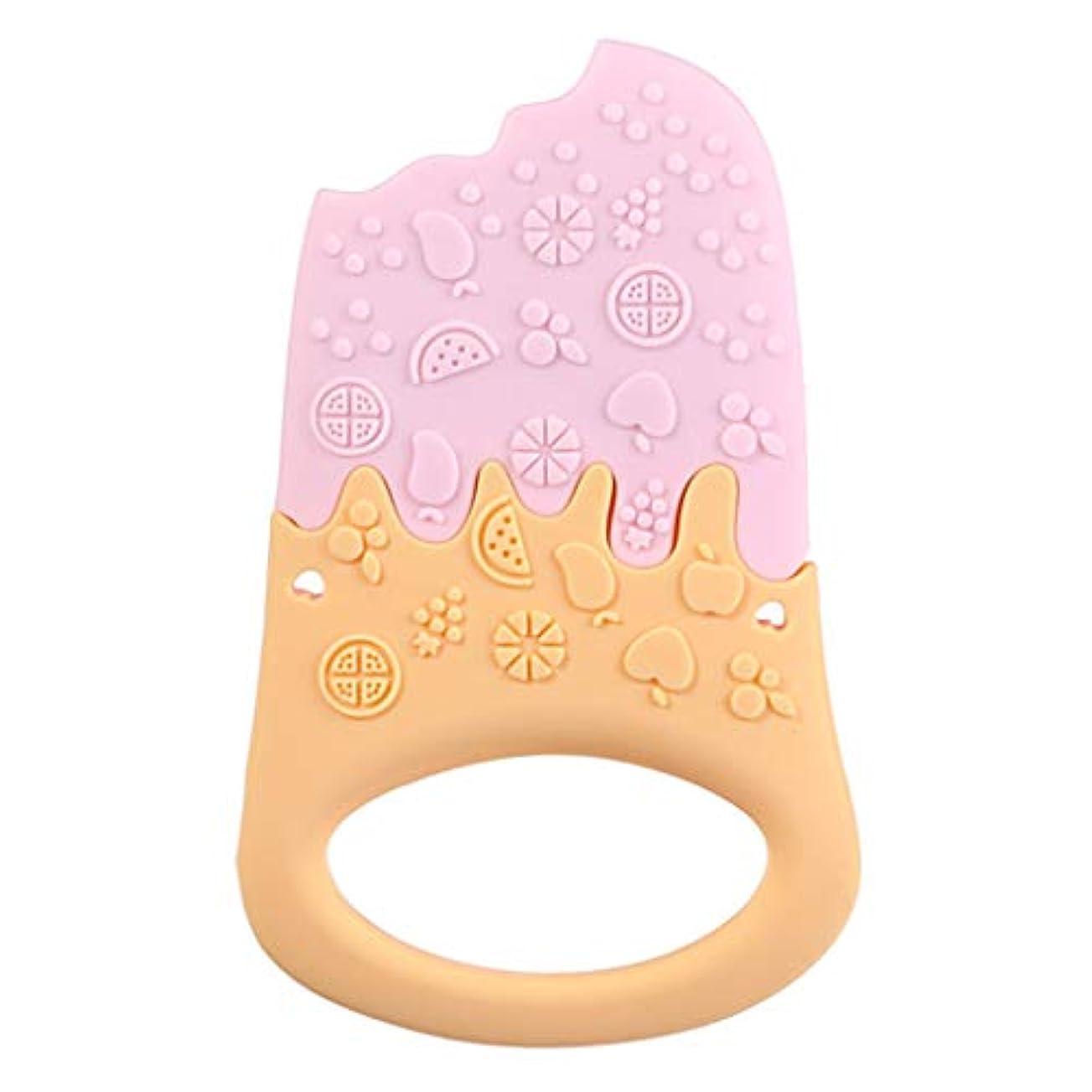スワップ禁止する噴火Landdumシリコーンティーザーアイスクリームティーザー赤ちゃん看護玩具かむ玩具歯が生えるガラガラおもちゃ - 青