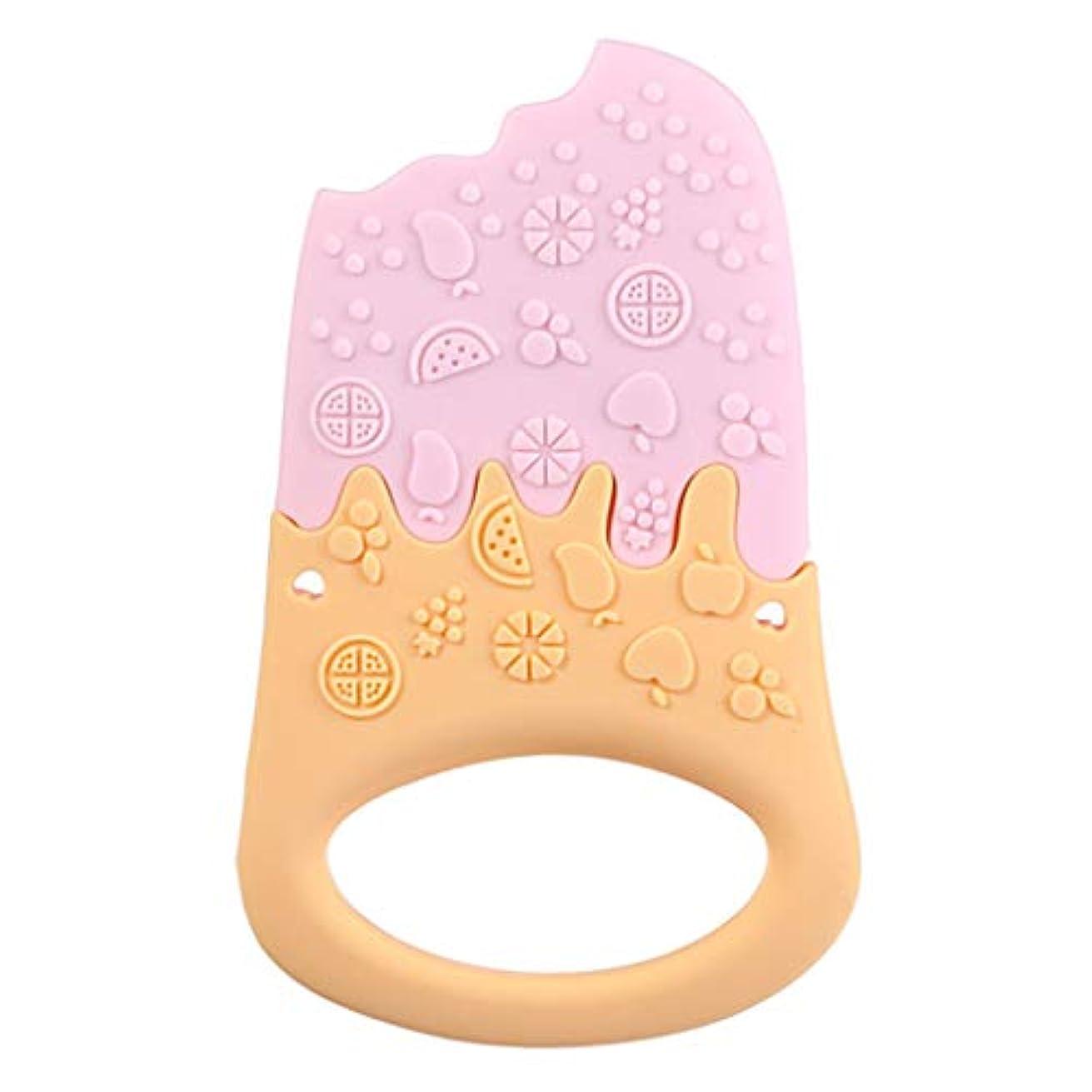 Landdumシリコーンティーザーアイスクリームティーザー赤ちゃん看護玩具かむ玩具歯が生えるガラガラおもちゃ - 青