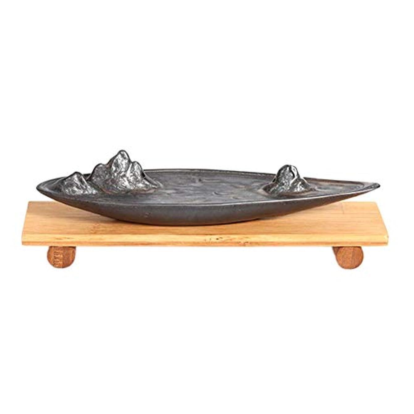 構造的インゲン届ける線香立て 横置き 線香ホルダー 線香皿 陶器製 茶道用品 仏壇用品 おしゃれ インテリア 卓上置物 竹製ベース付き hjuns-Wu