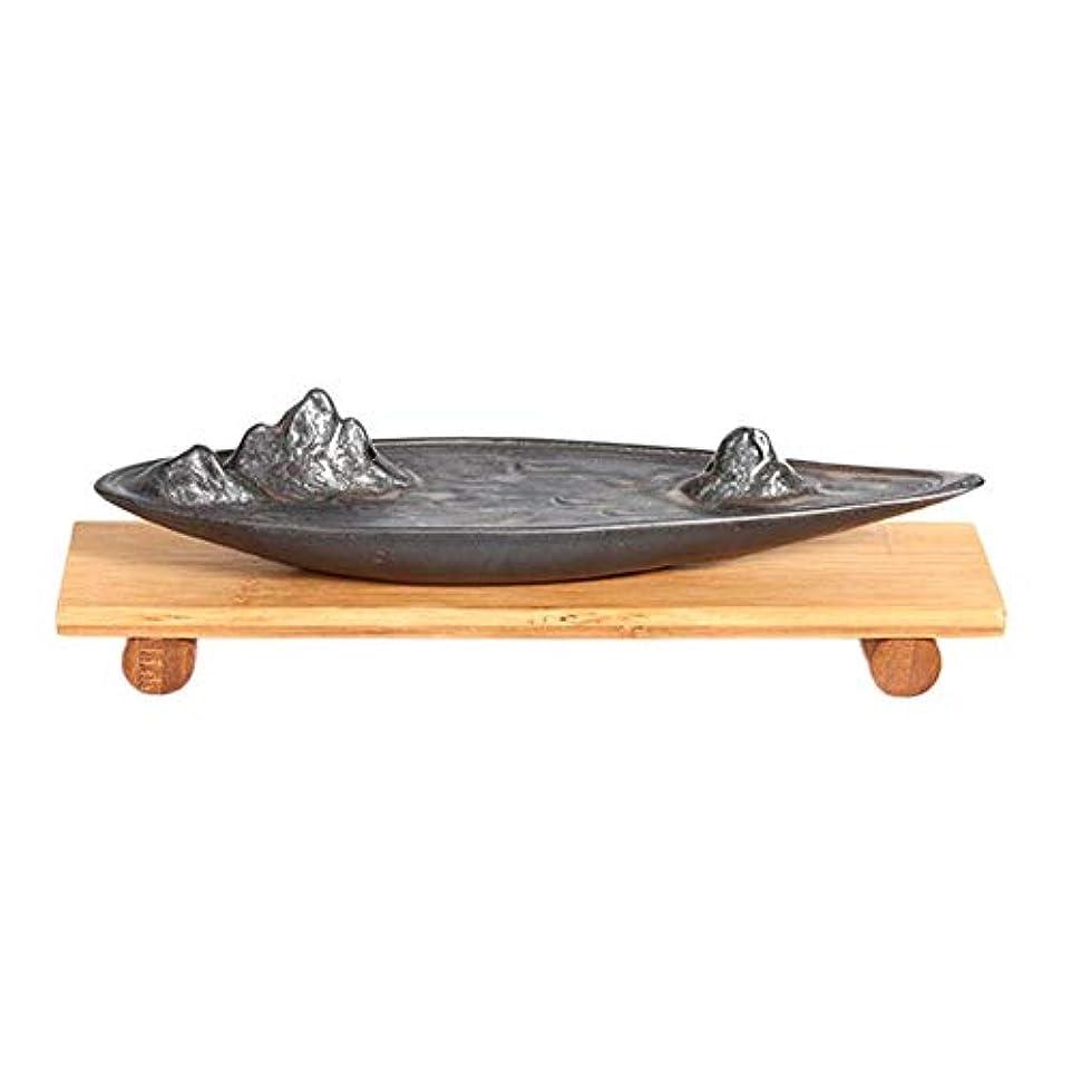 レザー味わう有彩色の線香立て 横置き 線香ホルダー 線香皿 陶器製 茶道用品 仏壇用品 おしゃれ インテリア 卓上置物 竹製ベース付き hjuns-Wu