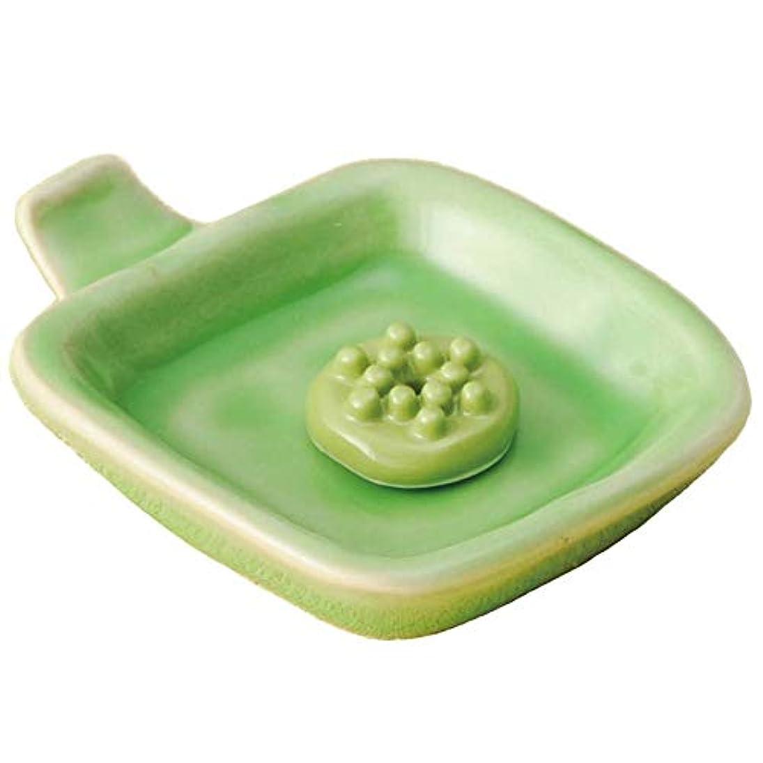 香皿 香立て/手付 角香皿 緑(香玉付) /香り アロマ 癒やし リラックス インテリア プレゼント 贈り物