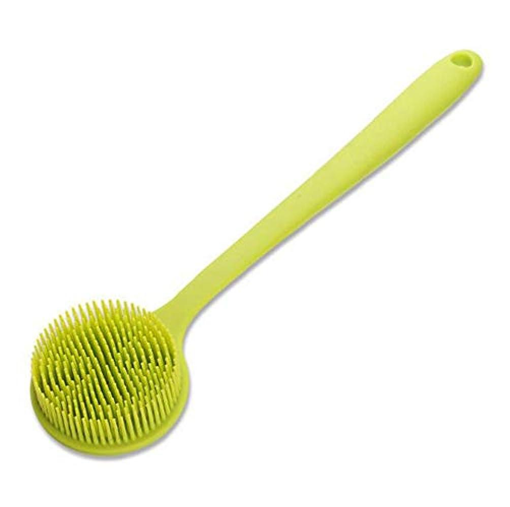 差し迫った富豪インタフェース長いハンドルが付いているシリコーンの浴室ボディブラシ、超柔らかい毛、緑が付いているシャワーのスクラバー