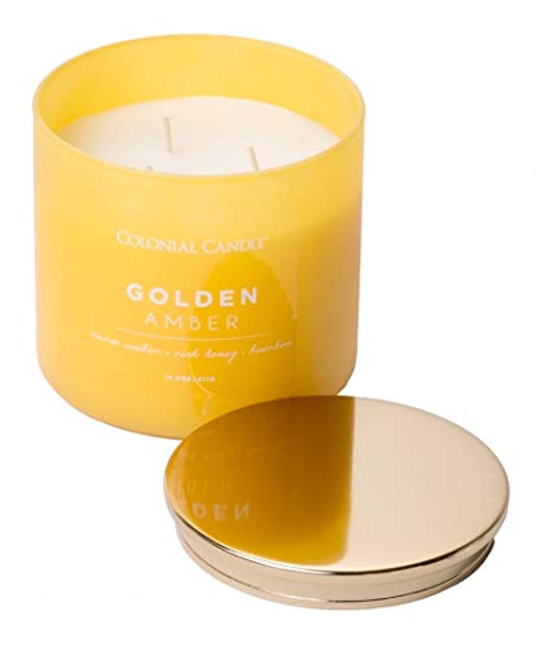 期待して夕食を食べる競争力のあるColonial Candle ゴールデンアンバー ポップオブカラーコレクション 香り高いキャンドル 装飾的な色付きガラス瓶入り ミディアム 14.5オンス
