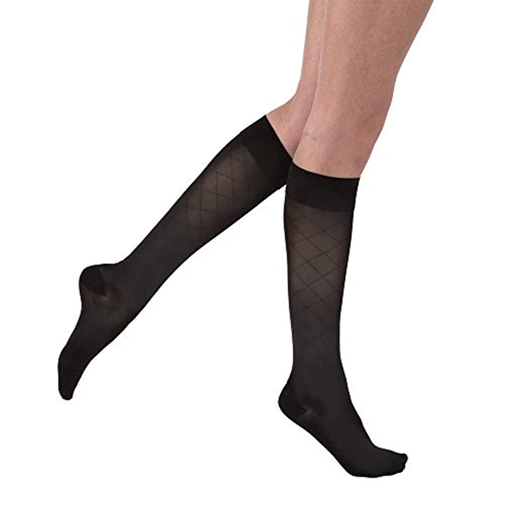流用する浅いレタッチJobst 119171 Diamond Ultrasheer Knee High CT Socks-15-20 mmHg-Blk-Med by Jobst