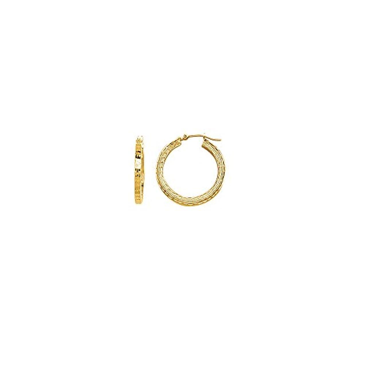 魅了する時間厳守放射するイヤリングチェスト 14K イエローゴールド スクエア ダイヤモンドカット チューブ ラウンド フープピアス 幅3mm 直径25mm (1インチ)