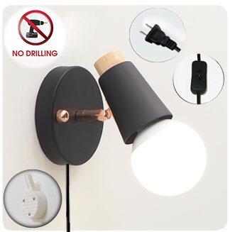 ブラケットライト コンセント式 ON/OFFスイッチ付き 壁取付ランプ 壁掛けフックにて固定 穴あけ不要 ブラックアンティーク調 レトロ おしゃれ ウォールライト インテリア照明 LED対応 ブラック