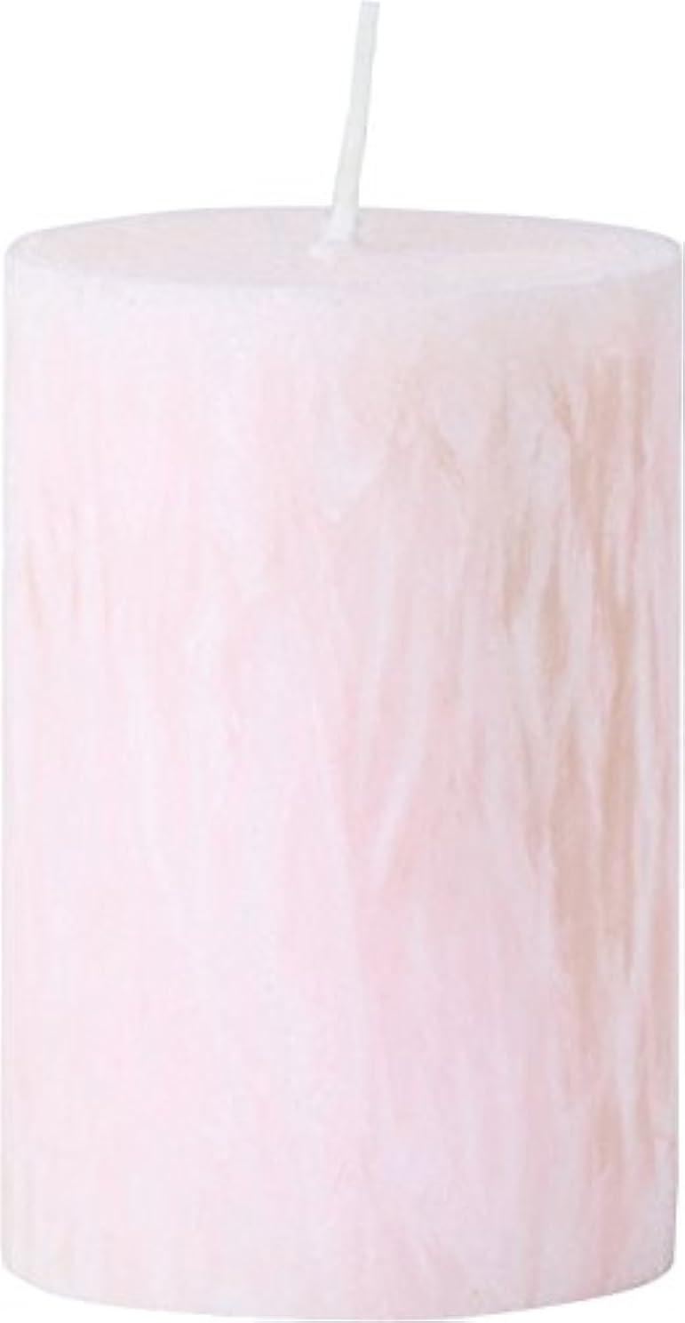 頑丈磁器感謝するカメヤマキャンドルハウス パームマーブルピラーキャンドル 直径5cm×高さ7.5cm シェルピンク