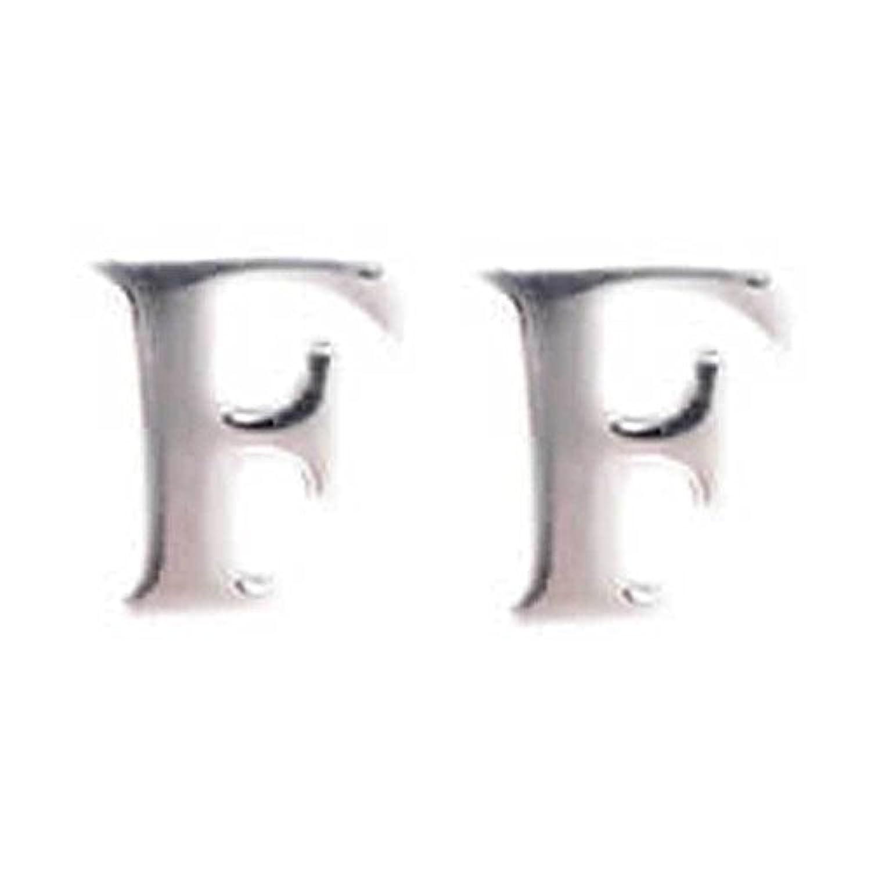 [サージキュア] Surgicure イニシャルアルファベット ステンレス ピアス(1ペア) シルバー F ポーチ入り sc-pps0052-1f