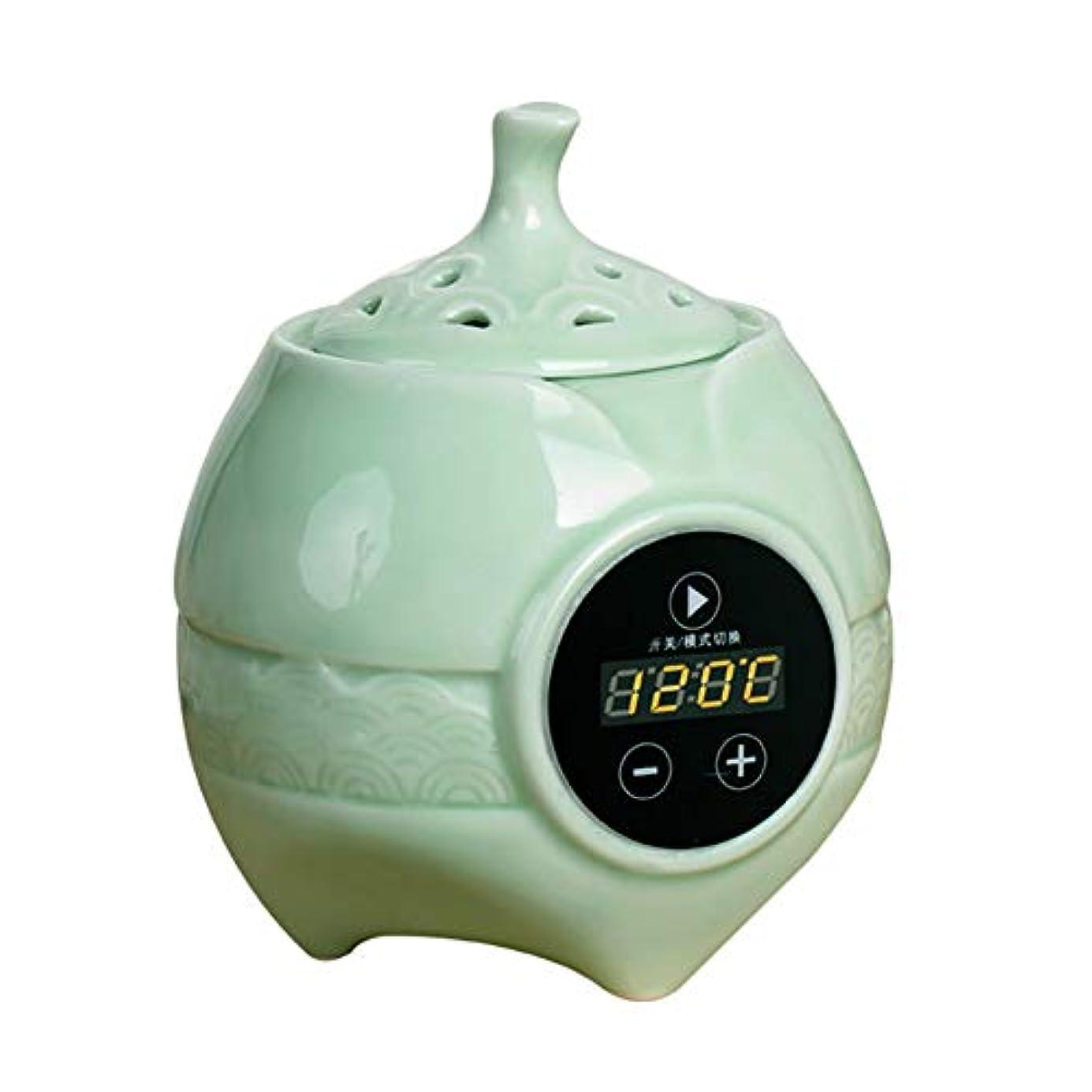 寄り添うほかに影響力のあるアロマディフューザー LCD温度制御 香炉、 電気セラミック 寒天 エッセンシャルオイル アロマテラピーディフューザー、 ホーム磁器、 バルコニー、 ポーチ、 パティオ、 ガーデンエッセンシャル セラミック電気香炉