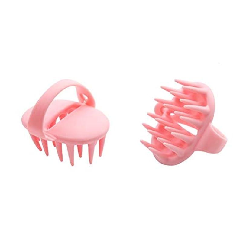 狂信者城近代化するHealifty 調整可能なハンドル付きシリコンシャンプーブラシスカルプマッサージブラシ(ピンク)