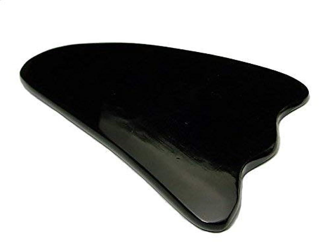 タンザニアヒール接辞かっさプレート k3-5C 水牛の角(黒水牛角) 羽 ポーチ付き 美肌 美顔 美容 マッサージ用 天然石 パワーストーン