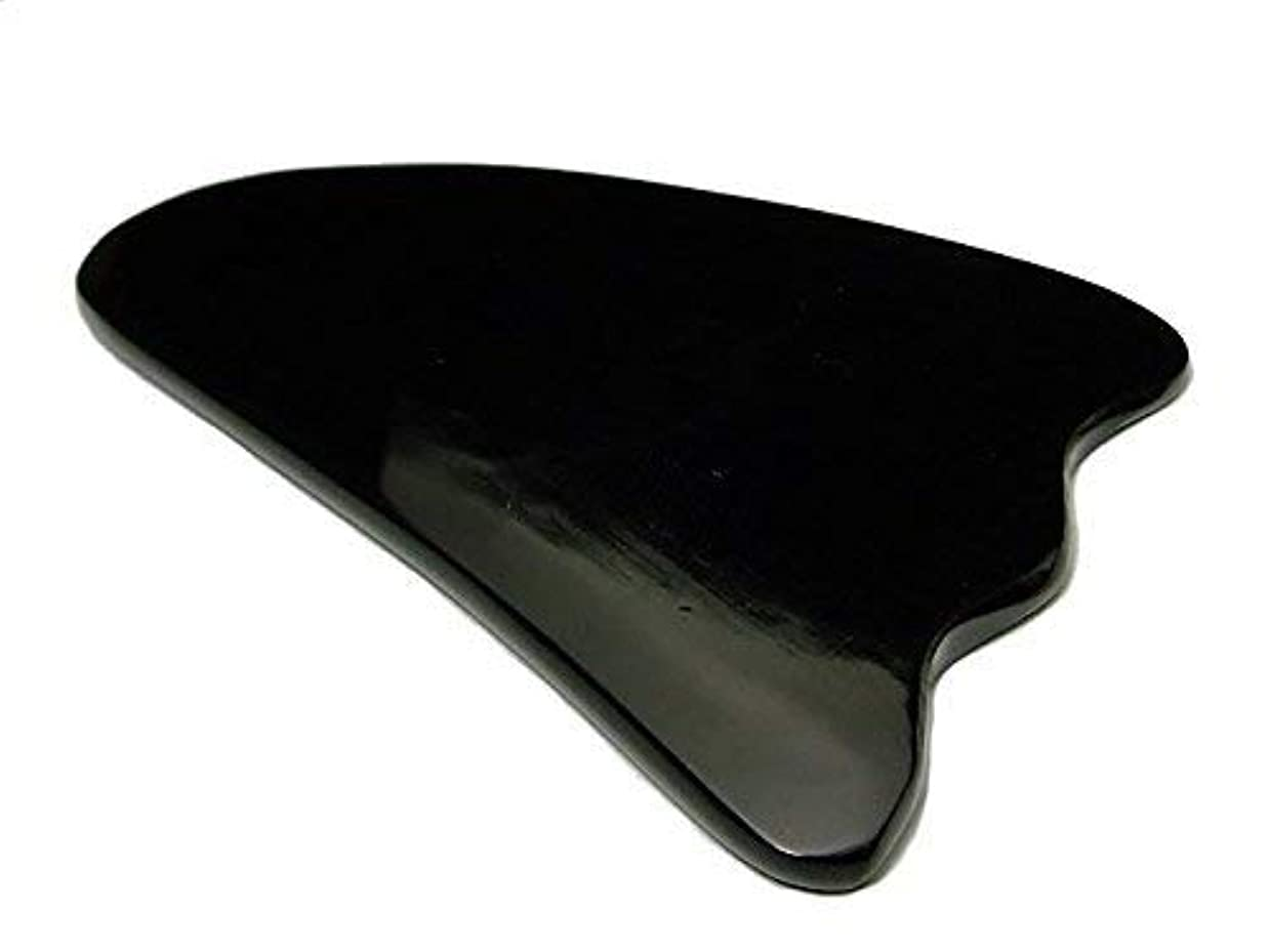 懐疑的差別的オーナメントかっさプレート k3-5C 水牛の角(黒水牛角) 羽 ポーチ付き 美肌 美顔 美容 マッサージ用 天然石 パワーストーン