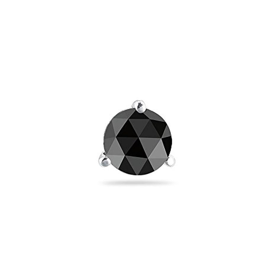 感情の添付チート1.00 CTの5.70 – 7.13 MMブラックダイヤモンドメンズスタッドイヤリングで14 Kホワイトゴールド{ダイヤモンド鑑定Included }