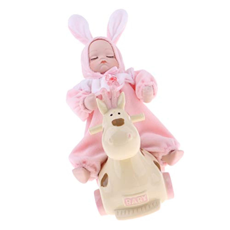 Baoblaze 愛らしい 乗馬陶器人形 赤ちゃん人形 ぬいぐるみ ウサギ人形 オルゴール 全2色 - ピンク
