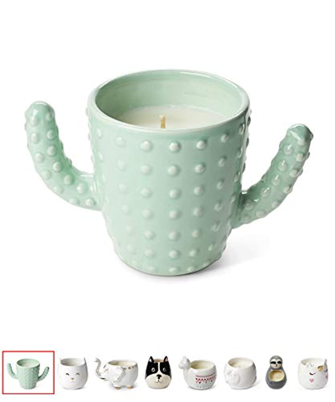 シャンパン個人的な驚きTri-coastal Design Small Cute Scented Wax Candles Ceramic Cactus Shaped Candle for Aromatherapy, Stress Relief...
