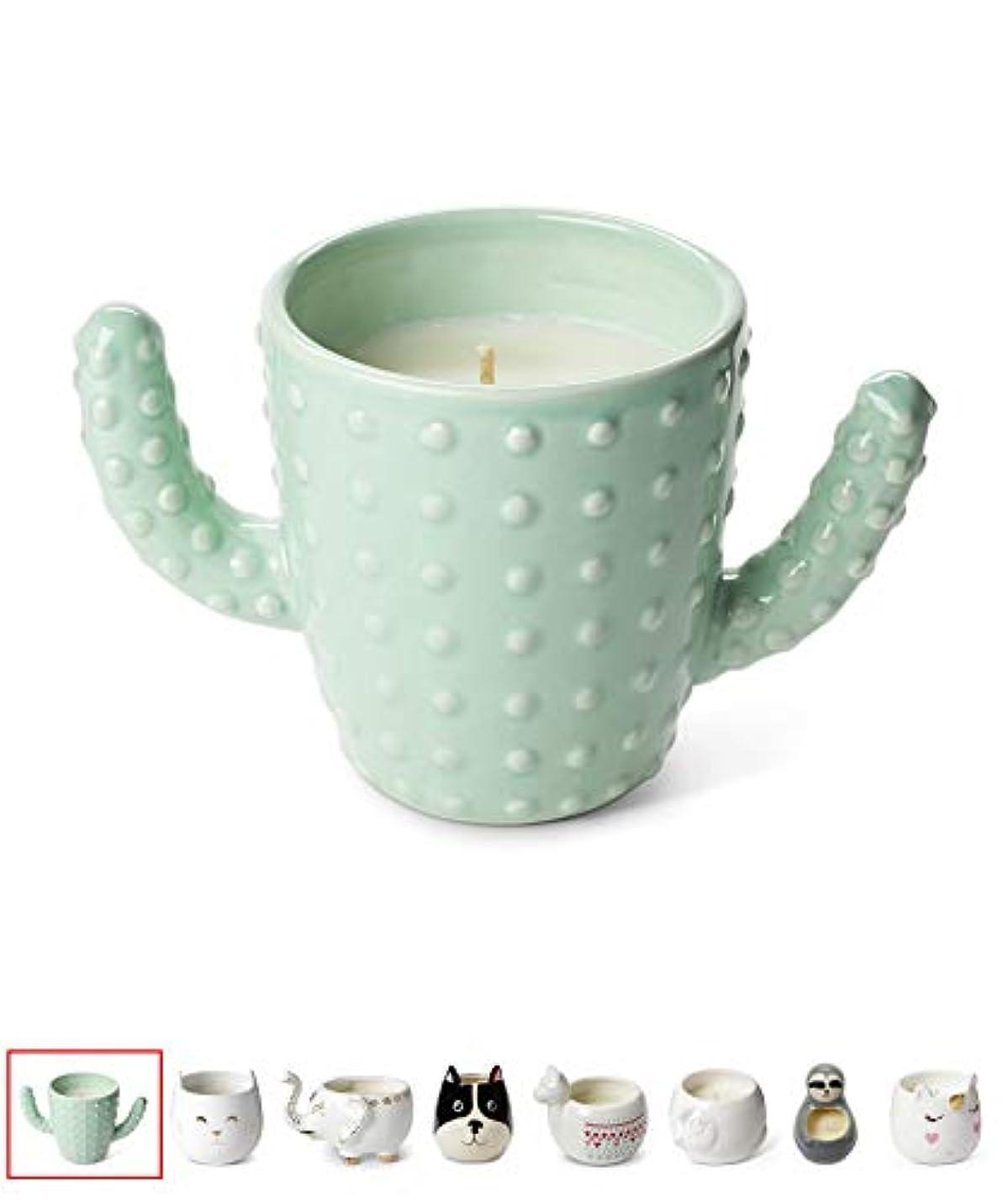 神学校登録図Tri-coastal Design Small Cute Scented Wax Candles Ceramic Cactus Shaped Candle for Aromatherapy, Stress Relief...