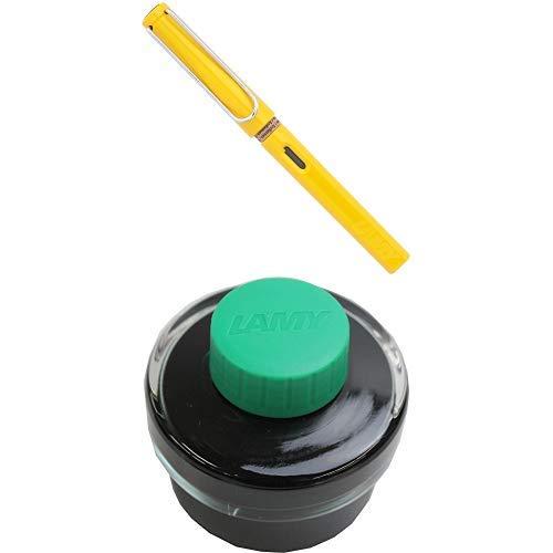 LAMY ラミー 万年筆 ペン先EF(極細字) サファリ イエロー L18-EF 両用式 コンバーター別売 正規輸入品+LAMY ラミー ボトルインク グリーン LT52GR 正規輸入品