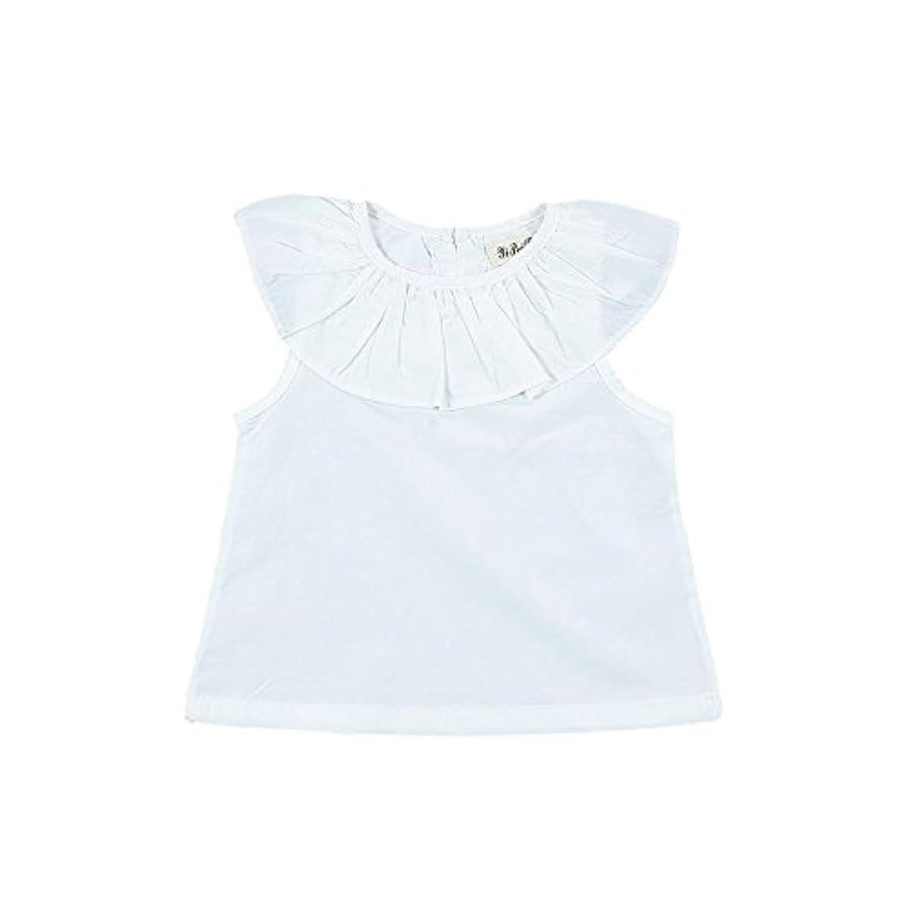 もつれアトミックあいまいさ子供服 半袖 Tシャツ 夏 蓮の襟 女の子 ガールズ キッズ 赤ちゃん 可愛い 綿 柔らか おしゃれ 素敵 ショートスリーブ ホワイト