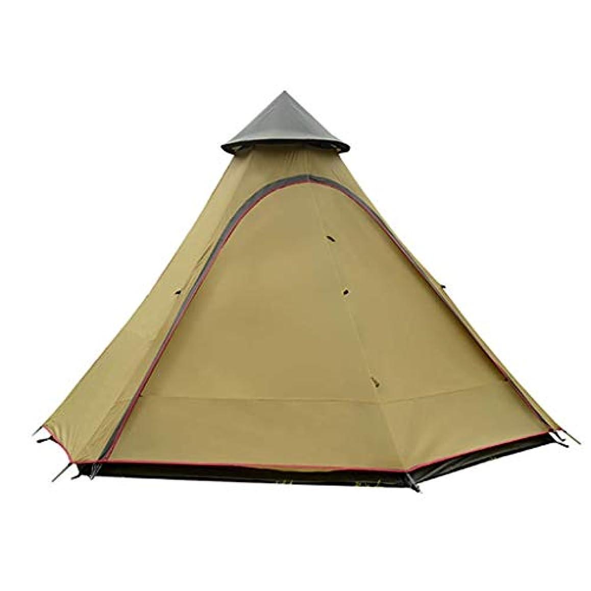 レインコートボウリング死の顎IDWOI テント テント 三角形 3-4人 アウトドア 二重層 反暴風雨 多目的 余暇 携帯用テント、3色 (Color : Brown)