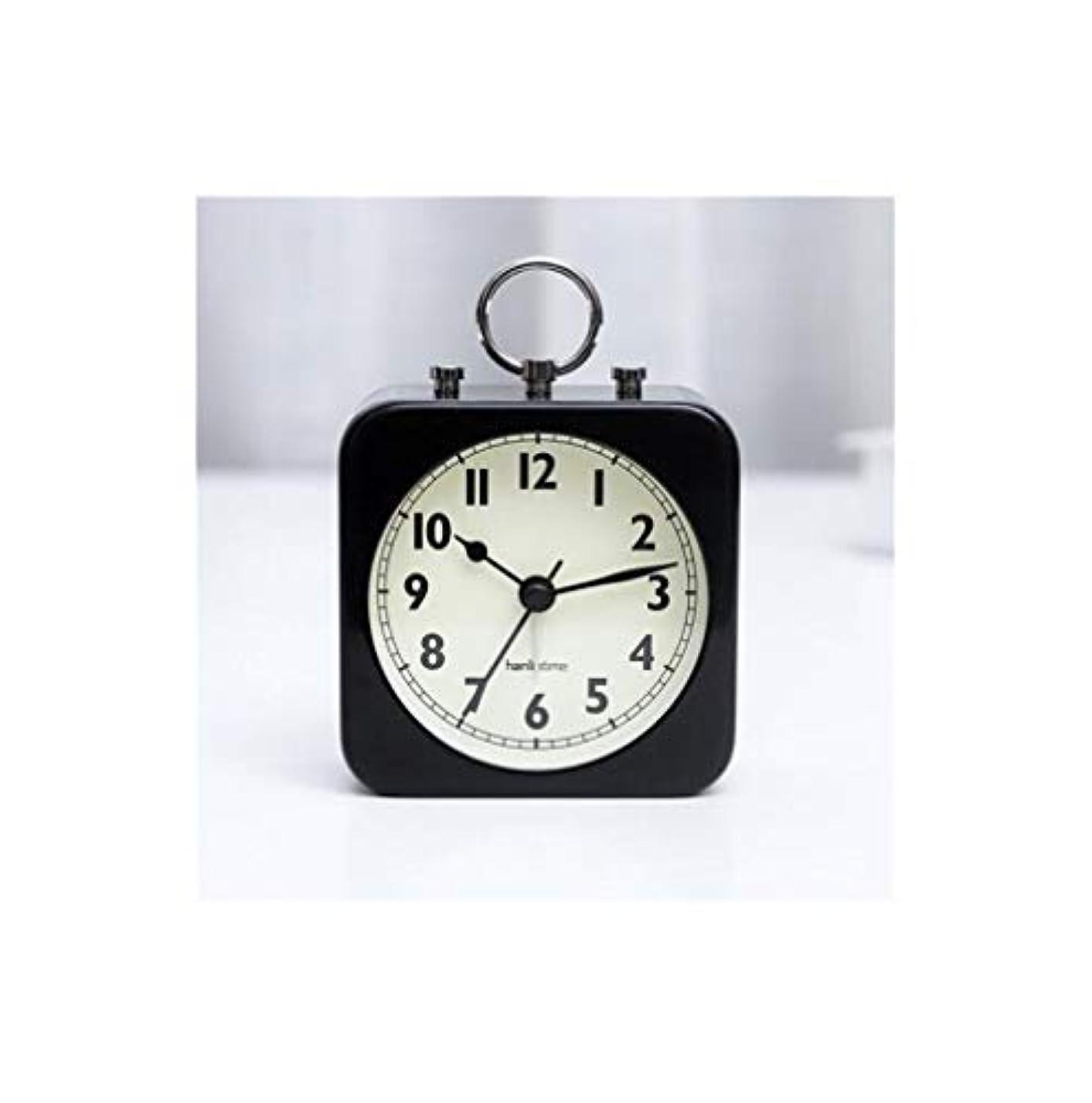 法王逆さまに終了しましたQiyuezhuangshi001 目覚まし時計、ベッドの上のシンプルな金属製目覚まし時計、学生の寝室のパーソナライズされた時計、寝室用目覚ましテーブル、スクエアブラック、静か(夜間照明なし)、 材料の安全性 (Color : Black)