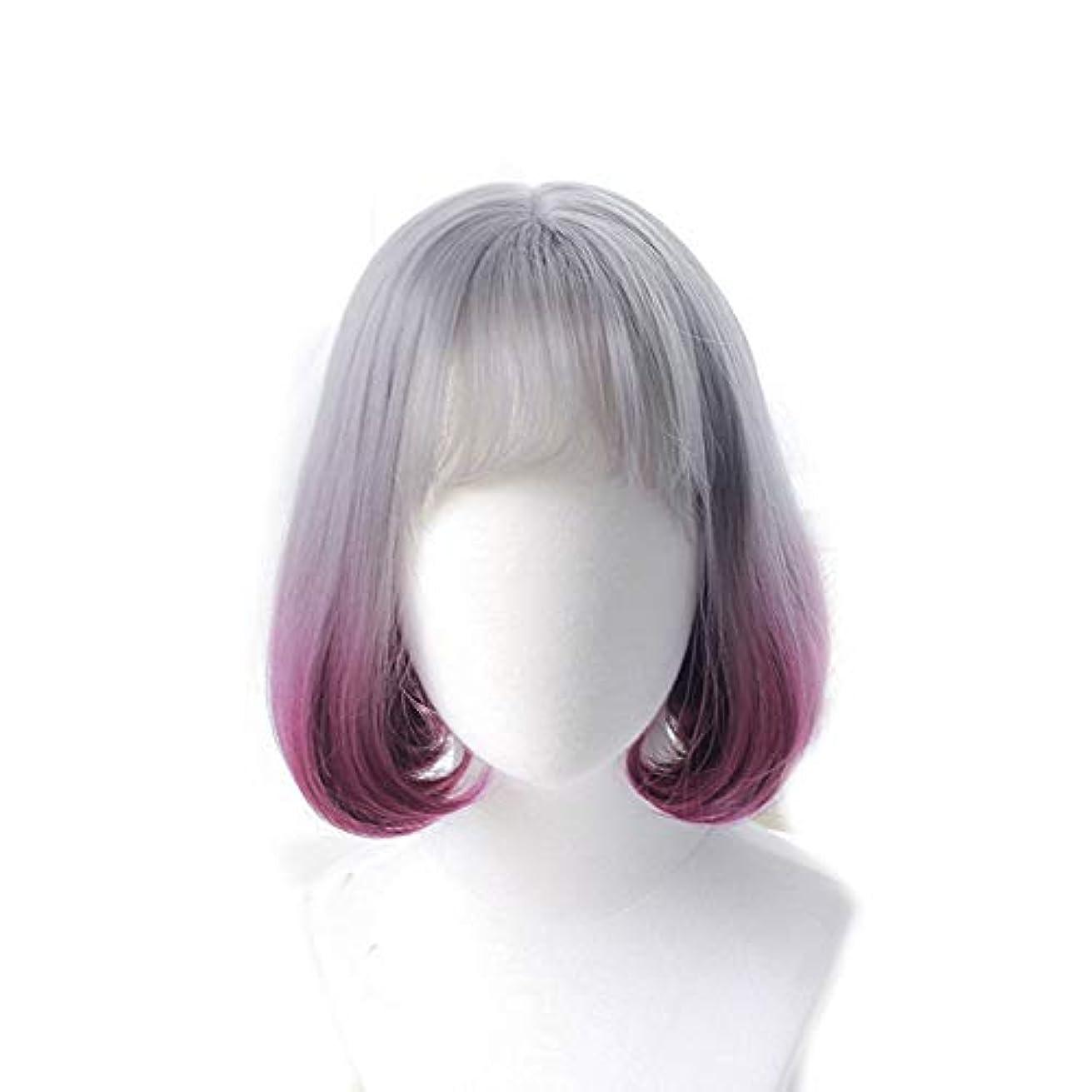 ペパーミント彼女自身に賛成WASAIO コスプレウィッグ波状ショート美しいボブアクセサリースタイル交換用ファイバーロングカーリー合成前髪アニメパーティー女性用(スモークグレーグラデーション) (色 : Photo Color)