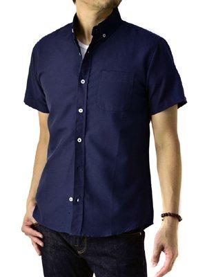 (フラグオンクルー) FLAG ON CREW オックスフォードシャツ メンズ 半袖 シャツ ボタンダウン / a7s / M ネイビー・濃紺