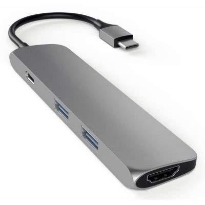Satechi スリム アルミニウム Type-C マルチ アダプター 4K HDMI USB3.0 (スペースグレイ)