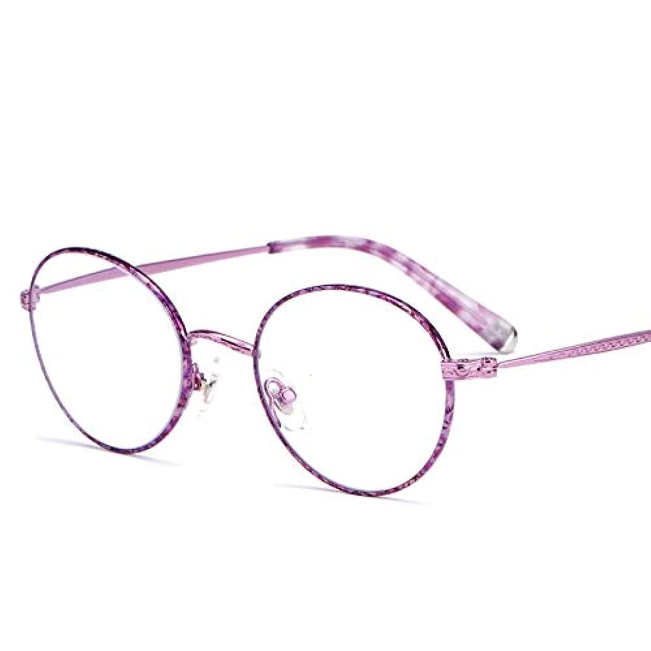 引き付けるリースに対応レトロな老眼鏡、女性の超軽量遠視眼鏡、丸い大きなフレーム老眼鏡、金属フレーム/樹脂透明レンズ/ソフトノーズパッド、スタイリッシュで快適