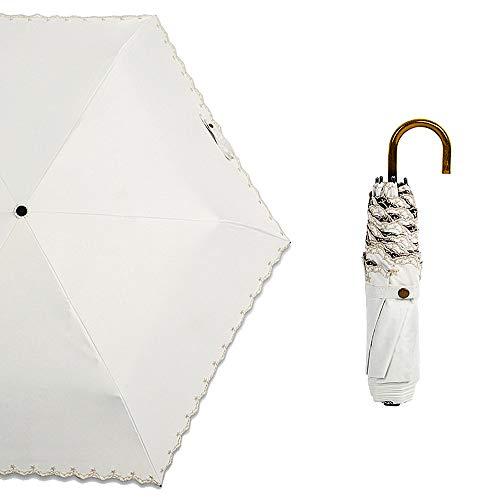 Tengis 折りたたみ傘 レディース 日傘 uvカット 100 遮光 180g軽量 晴雨兼用 遮熱 刺繍 収納ケース 可愛い (ホワイト)