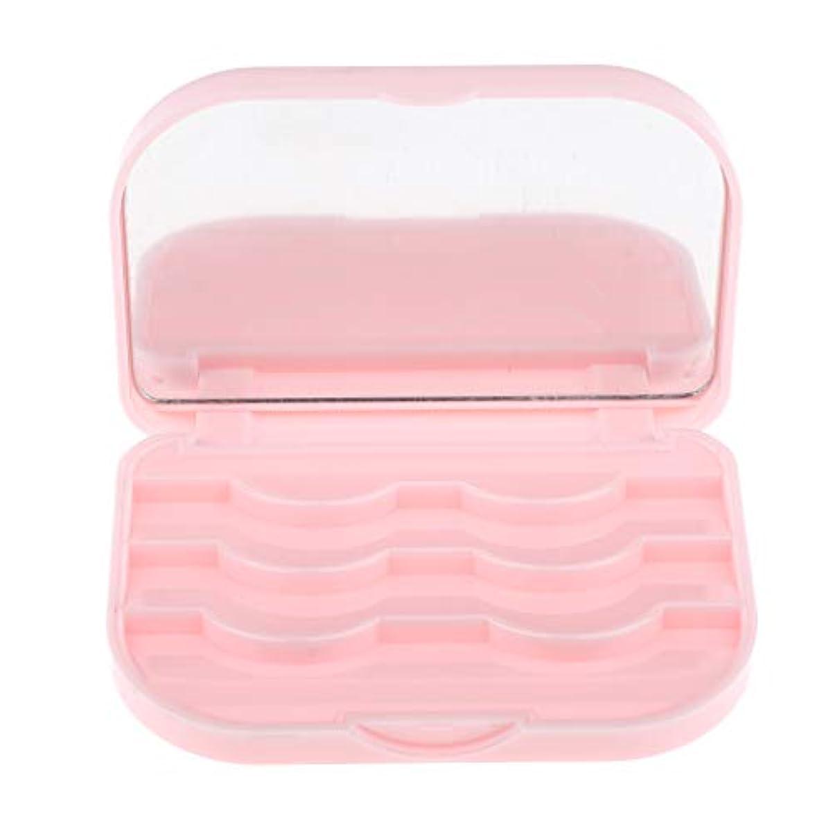 モスなすブラウンT TOOYFUL 全3色 まつげ収納ケース 収納ホルダー 化粧ポーチ ミラー付き 携帯便利 全3色 - ピンク