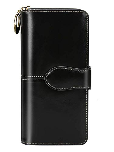 EGRD 長財布 ウォレット 本革製 小銭入れ付 レディース 大容量 RFID&磁気スキミング防止 スマホ入れ可 10カード入れ&4お札入れ 高級感あり 手触り良い 自分用もプレゼント用も最適 (ブラック)