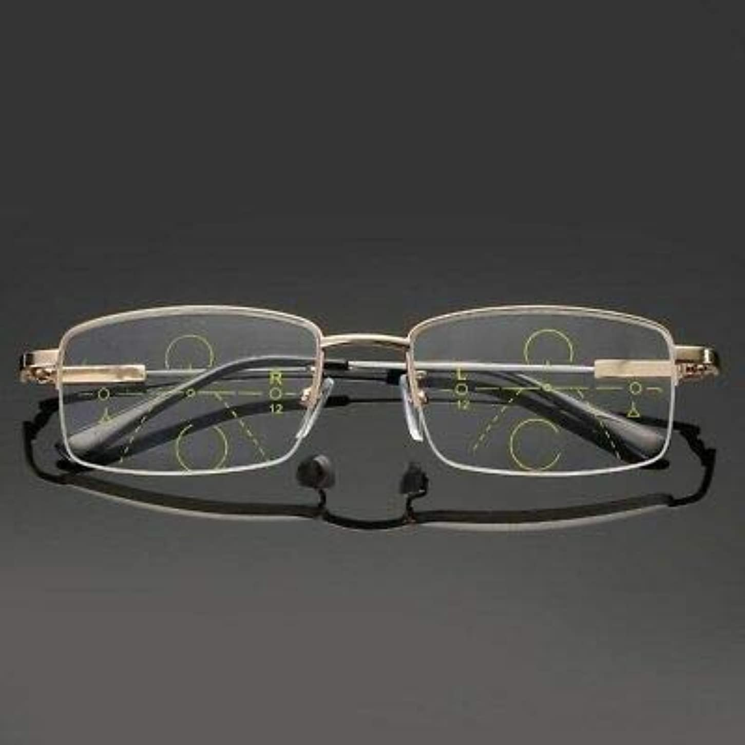 FidgetGear 合金累進多焦点レンズ老眼抗疲労スクエア老眼鏡 ゴールド
