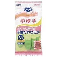 (まとめ)エステー ファミリービニール手袋中厚手 M グリーン【×100セット】