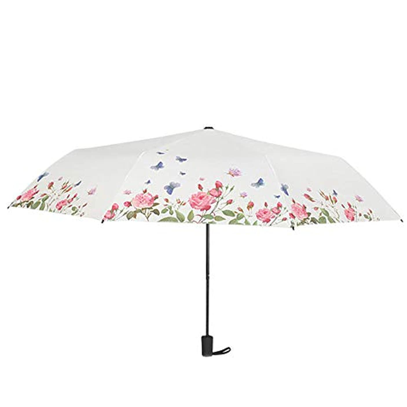 私のボランティア危険なバタフライラブフラワー傘小さな花の手の影響布傘、晴れや雨の日に適して