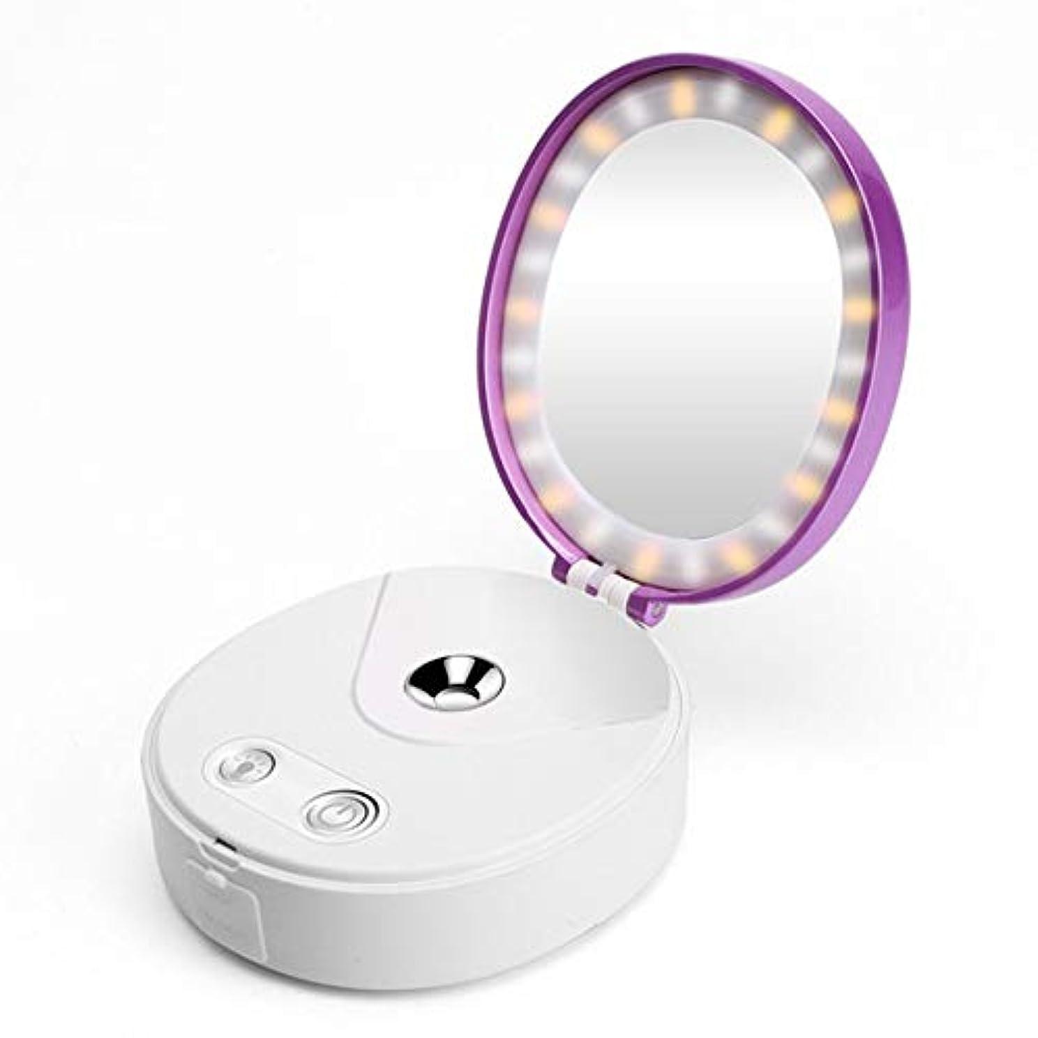 プライバシーアルコール光の化粧鏡ライト力銀行が付いている1つの小型ナノ霧の冷たいスプレーヤーの顔の加湿器に付き4つ