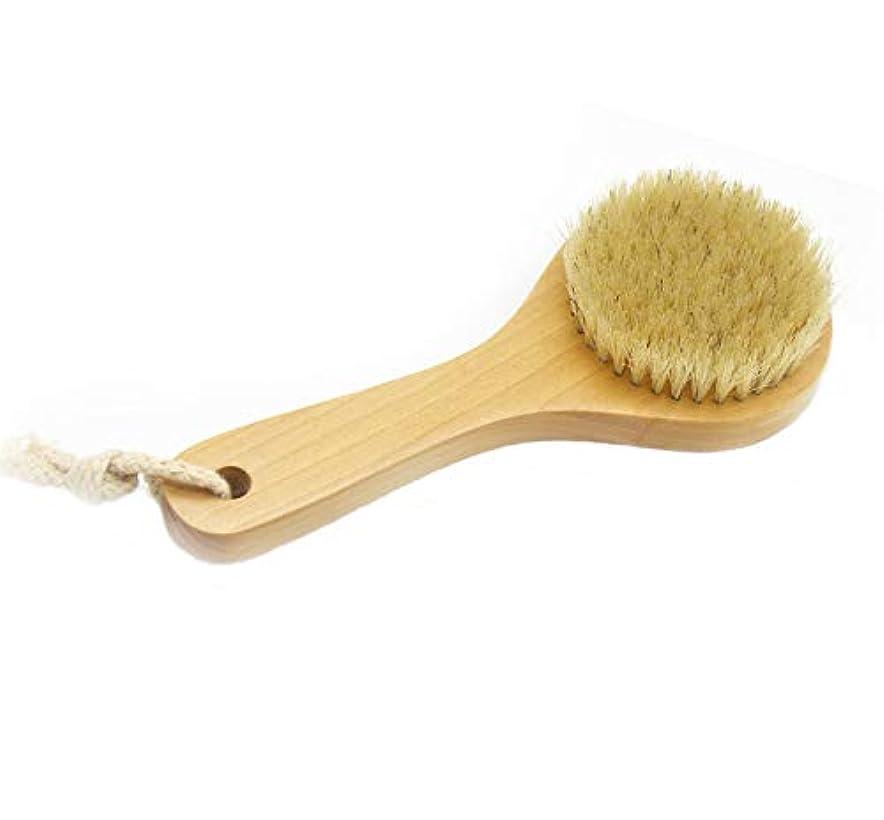 松明ベアリングサークルハイキングに行くMaltose ボディブラシ 豚毛100% 木製 天然素材 短柄 硬め 足を洗う 体洗いブラシ 角質除去 美肌 お風呂グッズ (B:20 * 8CM)